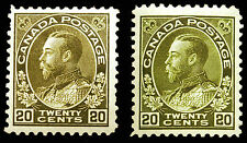 Canada #119 20c Sage & Olive Green 1925 King George Admiral VF *MLH*