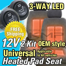 Car Interior Heated Pad 2Seat 3way LED Switch Hot Heater Diy Kit For All Vehicle