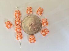 100 pcs Tiny Adorable Teddy Bear White w Orange Accents Acrylic Craft Beads