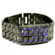 Wrist Watch Blue LED Digital Lava Day Faceless Samurai Iron Bracelet Bangle Cuff
