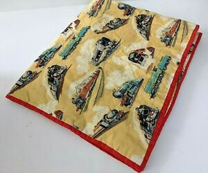 Handmade Train Quilt Baby Blanket Patchwork Comforter Hand Tied Crib Flannel