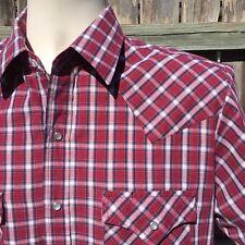 Plains Western Wear Plaid Pearl Snap Shirt Size Medium Short Sleeve Rockabilly