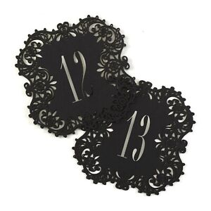 Black Lace Die-Cut Table Numbers Cards Wedding Party Reception 1-10 MW21882