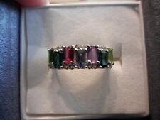 Natural Multi-Color Gemstone Band Ring - Size 6 - 2.41 Carats