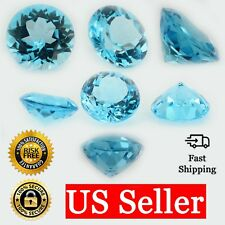 Loose Round Cut Genuine Natural Blue Topaz Stone Single November Birthstone