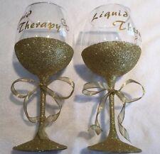 """Liqiud Therapy"" Wine Glasses Gold Glittered, 18 oz, Set of 2"