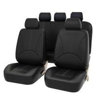 Car Front Back Seat Cushion Cover Head Rest Cover Protector Kit PU Leather Black