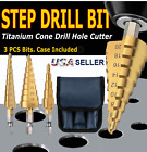 3Pcs Drill Bit Set Titanium HSS Steel Cone Step Quick Change 1/4' Shank Hole Cut