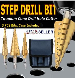 "3Pcs Drill Bit Titanium HSS Set Steel Cone Step Quick Change 1/4"" Shank Hole Cut"