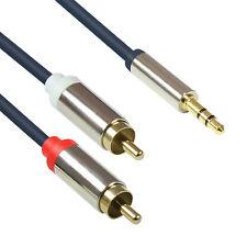 1m GC® HQ Audio 3,5mm Klinken Stecker auf 2* Chinch Cinch RCA St. Aux Kabel