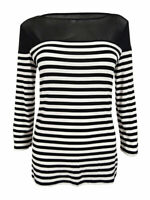 INC International Concepts Women's Striped Illusion Top (S, Deep Black)