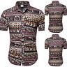 Herren Sommer Kurzarm Shirt Top Classic Hemden Strand Hemd Freizeithemd Tee 5XL