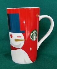 Starbucks Snowman Tall Mug Ceramic Red 16 oz 2012 EUC