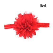 Kids Girls Baby Infant Elastic Hairband Chiffon Flower Headband Photo Hair Bows Red