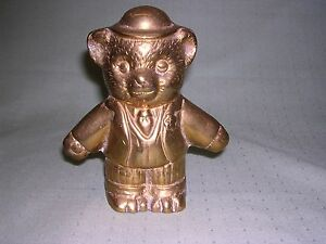 Heavy Brass Teddy Bear Bank, Standing bear in derby, suit and tie, cute!