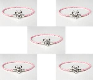5Pcs pink Leather Bracelets Chain Bangle Suit European Charm Bead 20cm