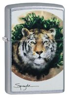Zippo Spazuk Tiger Design Street Chrome Windproof Pocket Lighter, 49090