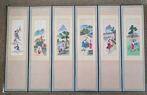 Vintage Chinese Embroidered Silk Panels Asian Folding Screen Six Panels