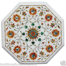 "12"" White Marble Top Coffee Table Top Real Hakik Inlay Mosaic Floral Art Decor"