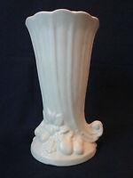 CORNUCOPIA VASE! Vintage NELSON McCOY ART pottery 1920s: matte white: EXCELLENT!