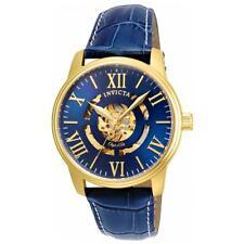 Invicta Men's Objet D Art Automatic Watch Semi-Skeleton Dial Leather Strap 22601