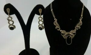 Sterling Silver 925 Onyx & Marcasite Necklace & Earring Set In Gift Box VGC #121