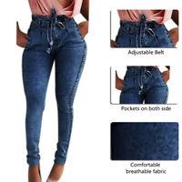 Women High Waist Streetwear Bandage Denim Plus Size Skinny Slim Pencil Jeans US