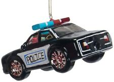 ZM445 Police Cop Car Cruiser Glass Christmas Ornament Decoration Black White