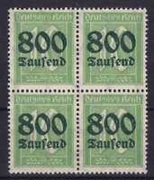 DR Mi Nr. 320 ** 4er Block, PF 8 Plattenfehler, Ziffer 1923, postfrisch, MNH