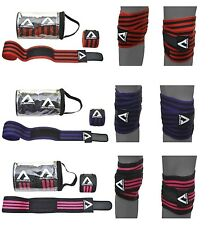 """KNEE WRAPS WEIGHT LIFTING BANDAGE 78"""" PAIR STRAPS GUARD PADS GYM POWER LIFTING"""