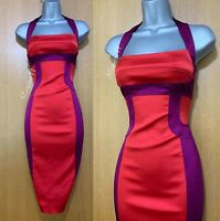 Karen Millen Satin Red Purple Panel Halterneck Cocktail Wiggle Pencil Dress UK16
