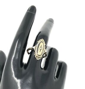 SIGNED VINTAGE AVON GOLD TONE RHINESTONE ART DECO STYLE ADJUSTABLE RING