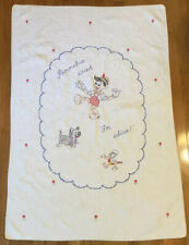 """Vtg PINOCCHIO Cross Stitch Embroidery Baby Child Quilt 51""""x35"""", Clean, Odor Free"""