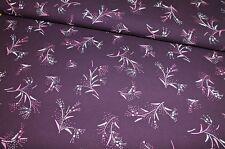 Baumwoll Jersey Blüten Gräser aubergine Damenstoff Kinderstoff Meterware