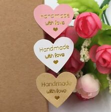 Heart Labels HANDMADE WITH LOVE Gift Craft Stickers Seal White Brown Pink GH