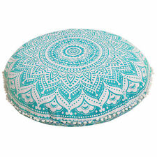 """32"""" Green Ombre Mandala Round Floor Pillow Cushion Cover Room Decorative Throw"""