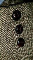 38R 40R M Unstructured Herringbone Tweed Brown Wool Sport Coat Jacket Blazer