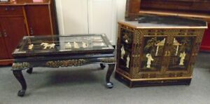 Oriental Chinese Black Lacquered Ornate Tv Cabinet & Coffee Table - CIS S55