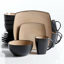 Square Dinnerware Set 16 Piece Dinner Plates Bowls Cups Ceramic Dishes, Taupe