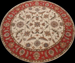 Ivory Floral Traditional Oriental Area Rug Hand-Tufted Wool 10'x10' Round Carpet