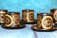 Vintage Denby Arabesque Retro 70' Pemberton Stoneware 6 egg cups with 6 saucers