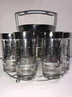Mid Century Modern Kimiko Knight Guardian Highball Glasses Caddy and Ice Bucket