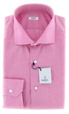 New $325 Barba Napoli Pink Solid Shirt - Slim - 15.5/39 - (D2U13TB66)
