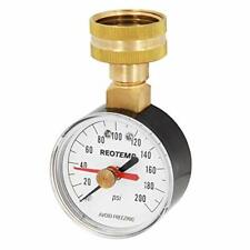 """Home Water Pressure Test Gauge with Max Pointer, 0-200 Psi, 3/4"""" Female Hose"""