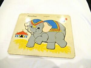 Fisher Price circus elephant wooden puzzle #571, vintage