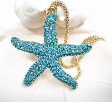 Betsey Johnson Necklace STARFISH Blue Crystal Gold  Beach Summer Gift Box / bag