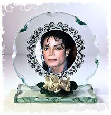 Michael jackson 2 photo verre taillé rond cadre plaque unique édition limitée #1