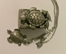 Pewter  Sea Turtle Pill Trinket Box w/earrings & necklace gift set signed