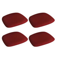 4pcs Chair Seat Cushion Cover w/ Buckle for Wedding Dining Kitchen Burgundy