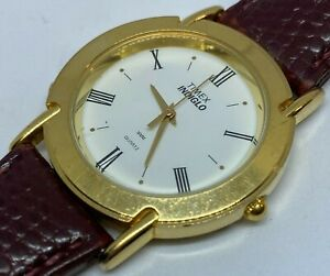 Vintage Timex Indiglo Men Gold Tone Leather Analog Quartz Watch Hour~New Battery